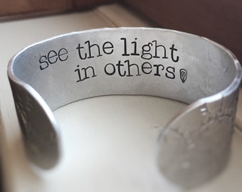 Textured Hidden Personalized Quote See The Light In Others Light Bulb Message Bracelet Cuff Lyrics Silver Thick Cuff Bracelet