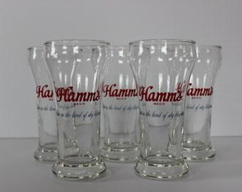 Hamm's Pilsner Bar Glasses - Set of Five 6 oz Glasses