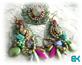 Shabby chic earrings and ring