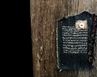 denim collage embroidery textile art barn wood rustic handmade freedom series