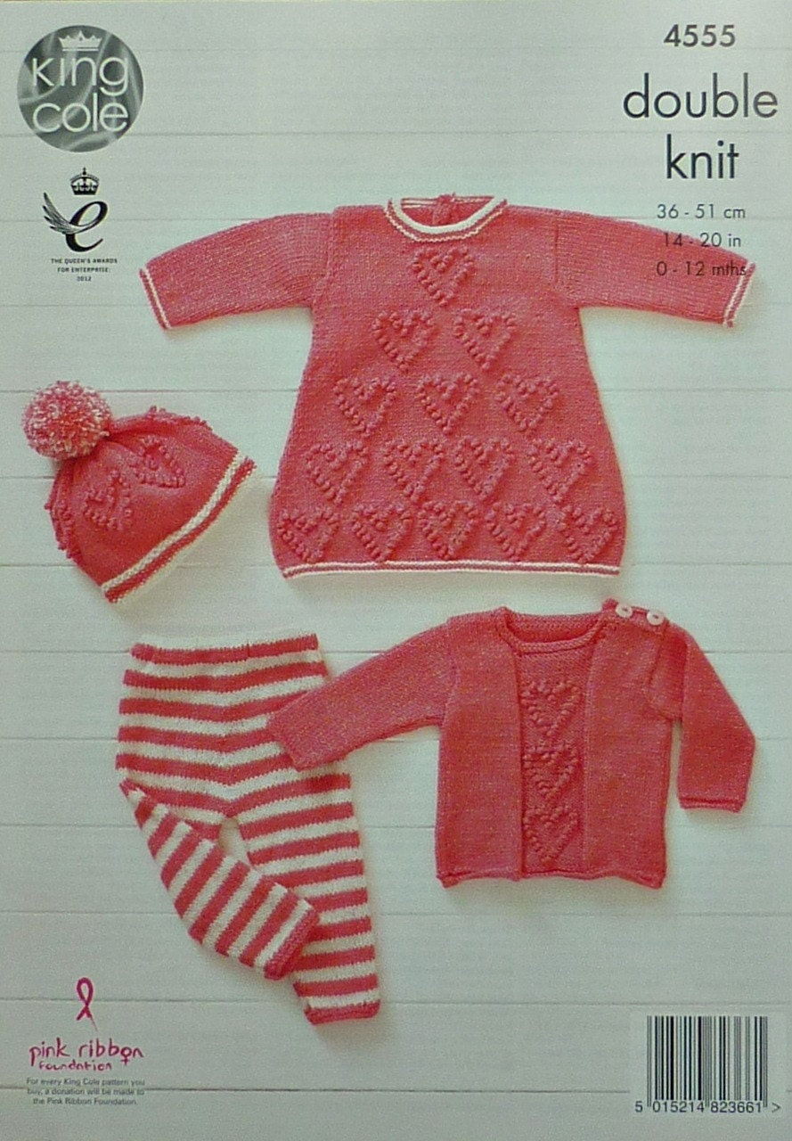 Knitting Pattern For Heart Motif : Baby Knitting Pattern K4555 Babies Heart Motif Dress
