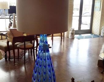 Vintage Murano Glass Lamp Flavio Poli Mid Century Design Large Blue Drapery Design