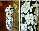 SALE / vintage silk dress / silk black and white floral print dress / size medium