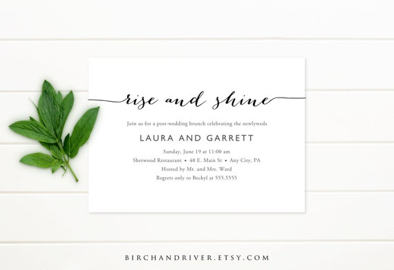 Post Wedding Brunch Invitation Wording: Printable Post-Wedding Brunch Invitation Bridal By