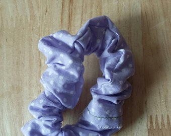Practical lilac and white polka dot scrunchie