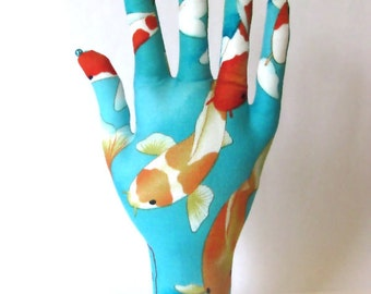 Koi Lotus Fabric Hand Jewelry Display POPULAR Style HAND-Stand