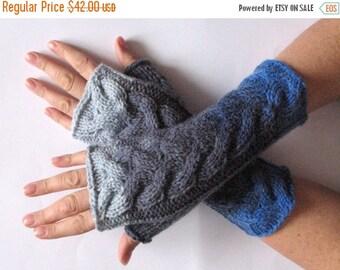 Fingerless Gloves Gray Azure Blue Arm Warmers Knit Soft