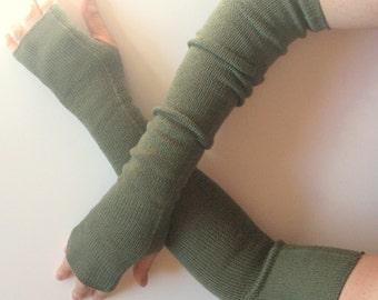 """Long Fingerless Gloves Moss Green 20"""" Arm Warmers Mittens Soft Acrylic Wool"""