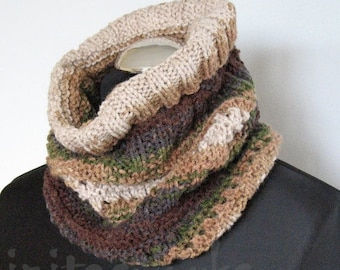 Infinity Scarf Brown Beige Gray Green Circle Scarf  Cowl Wrap