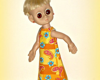 "New Clothes for 15"" Little Miss No Name, Vintage Doll from 1965, Handmade '70s Vibe Maxi Dress, in Bold Sunny Yellow by traveller240"