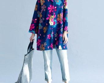 Cotton loose autumn Single breasted coat blouses
