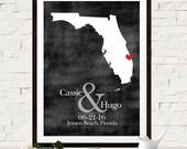 Unique Wedding Guest Book Idea, Custom Map, Florida Wedding, Beach Wedding, Custom Wedding Gift, Personalized Gift, Unique Gift for Couples