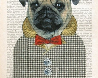PUG THE DOG mops art print illustration dictionary art giclee print fashion art