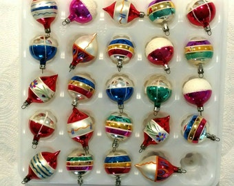Vintage Christmas Ornaments Feather Tabletop Tree Small Mini Tear Drop Round Set of 24 FREE SHIPPIING - order 3 or more Christmas  listings