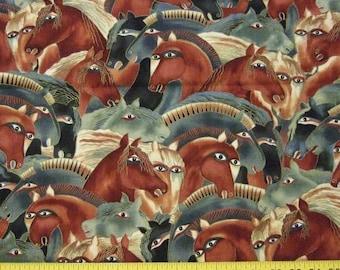 OOP Laurel Burch DANCING HORSES Fabric - Large Horse Heads in Rich Earth Tones - Fat Quarter