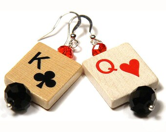 Summer Party Gift King and Queen Earrings Birthday gift for her Fun Gift Card Game Wood Pieces Good Luck Charm Red Black Sterling Silver