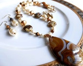Pear Shaped Onyx Agate Pendant, Fire Agate ,Vintage Lucite Pearls, Tiger's Eye, Necklace and Earrings Set, Gift for Her