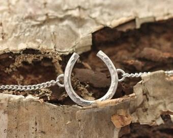 Sterling Silver Horseshoe Bracelet - hammered horseshoe bracelet, lucky horseshoe bracelet, small horseshoe bracelet, .999 and .925 silver