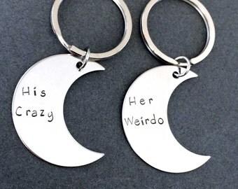 His Crazy Her Weirdo Moon Keychains, Unique Gift, Couples Keychains, Moon Gift, Boyfriend Girlfriend Gift, birthday gift