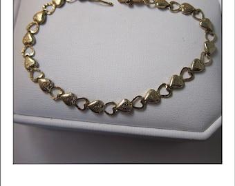 Vintage 10k Open Heart Tennis Link Bracelet -5 grams