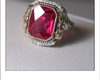RESERVED --Antique Art Deco 14k Ruby Seed Pearl Ring with Yellow and Rose Gold detailed rosettes