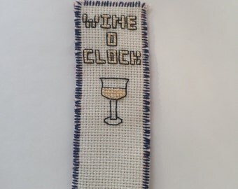 wine lovers cross stitch bookmark white