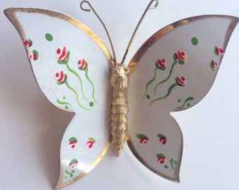 Vintage metal butterfly brooch
