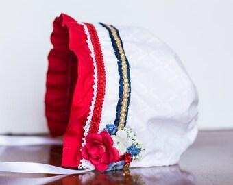 Sun Bonnet - Patriotic - Fourth of Juy - Summer time Bonnet - Newborn Photo Prop - Vintage Inspired Prop - Baby Hat - Newborn Bonnet