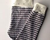 Organic jersey knit gray scallops cuff pants-toddler harem pants