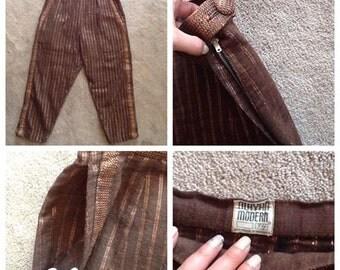 Mayan Modern Mexican Capri Pants - Bronze Lurex Medium