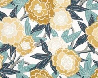 """Two 96"""" x50""""  Custom Curtain Panels - Robert Allen - Large Floral - Blue/Jade Green/Yellow - Pinch Pleats Available"""