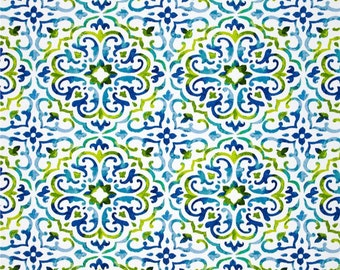Two 20 x 20  Custom Designer Decorative Pillow Covers for Indoor/Outdoor - Tile Medallion Blue/ Green