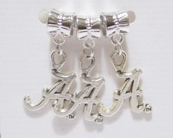 "3 pieces - Letter "" A "" Dangle Charms / Pendants - Tibetan Silver - Team Charm, Initial Charm"
