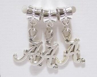 "3 pieces - Letter "" A "" Dangle Charms / Pendants - Tibetan Silver - Team Charm, Initial Charm"