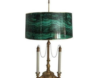 Brass Bouillotte Lamp with Faux Malachite Shade