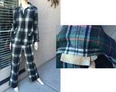 Pendleton plaid tartan pantsuit womens jacket pants 1960s 1970s size 12