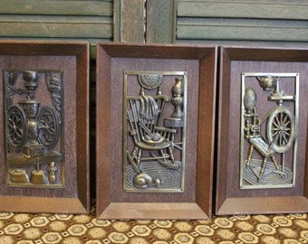 Vintage wood and brass wall decor - Wood and brass wall plaques - Retro Decor