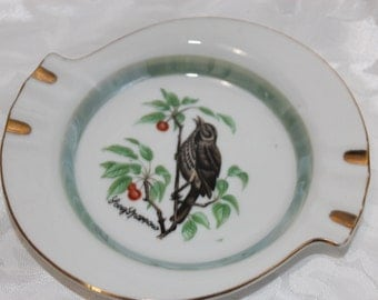 Vintage Orleans Japan Ashtray with Gold trim with Brown Song Sparrow