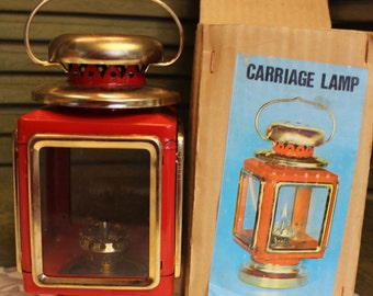 Vintage Square Oil Lamp Carriage Hurricane Style - Red and Gold Brass Metal Lantern