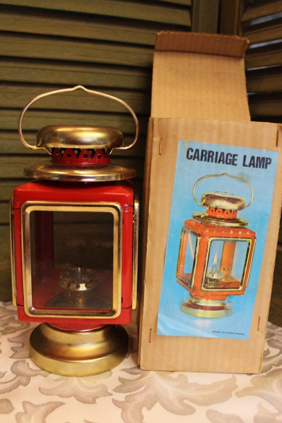 Vintage Square Oil Lamp Carriage Hurricane Style Red And