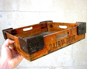 Antique Wooden Dairy Box with Branding - Royal Arsenal Cooperative Society