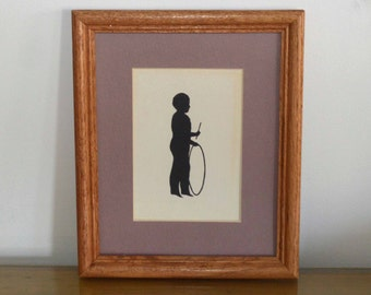 Vintage Framed Silhouette, Boy with Hoop and Stick