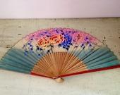 Vintage Japanese Paper Hand Fan Wooden Frame Floral Souvenir 40's