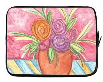 Vibrant Floral Neoprene Laptop Cover in 5 sizes