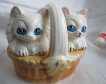 Pair of kittens in basket salt and pepper shakers / Angora cat salt pepper shaker set