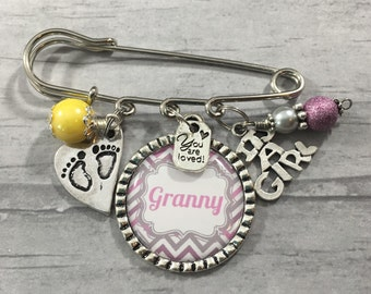 Its A Girl, Grandma to Be Pin, Baby Shower Decor, Mama to Be, New Grandma Gift, Baby Shower Corsage, Custom, Personalized, Pink, Blue,