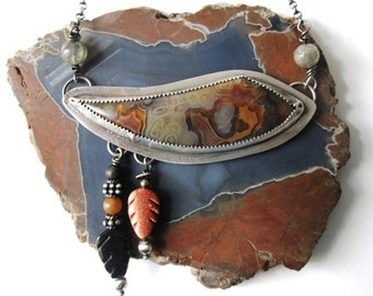 Autumn Warm Reds, Browns, Golds and Grays:  Crazy Lace Agate Necklace in Sterling Silver Necklace Jewelry with Gemstone Leaf Dangles