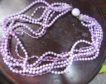 Vintage 1960's Lilac Purple  Plastic Multi Strand Beaded Necklace, Early Plastic, Clear and Opaque Beads, 7 strands, Easter Jewelry, Pastel