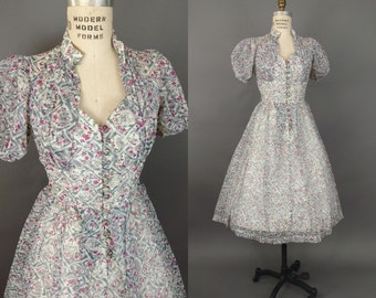 1940s Dress + Sweetheart Semi Sheer + Puff Sleeve + Floral Planter Novelty Print + Button Front + Small + Medium