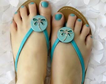 Flip Flop Wrap Clips, Aqua Dragonfly, Flexible Removable Versatile Shoe Clips, Sandal Clips, Scarf Accessory, Boot Strap Accessory